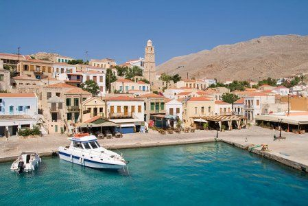 Halki  Small island off the coast of Rhodes.  Only one car on the island.  So peaceful.