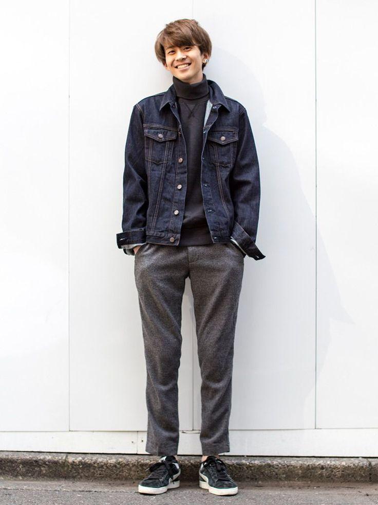 【渋谷店スタッフ注目コーデ】 クリーンなチャコールのパンツとカジュアルなデニムジャケットが好バランス。インナーも濃厚な色味で揃えてクリーンに見せつつ、気負わないデイリースタイル。  デニムジャケット (Color:リンス/¥9,900/ID:199325/着用サイズ:M) タートルネックセーター (Color:ブラック/¥7,900/ID:465566/着用サイズ:M) ヘリンボーンスリムフィットチノ (Color:チャ...