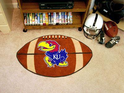 The Kansas Jayhawks Football Mat area rug is made in the USA!