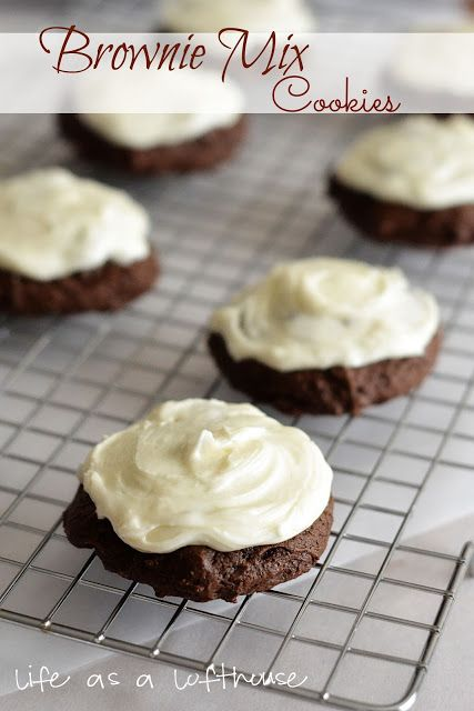 Brownie Mix Cookies with Cream Cheese Frosting - Life In The Lofthouse