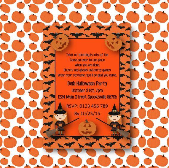 DIY Printable Halloween Party Invitation pumpkin by BootifulLabels