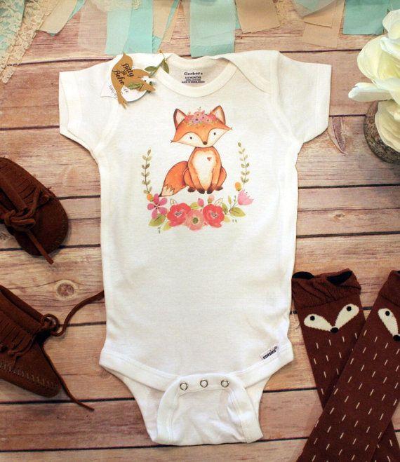 Fox Onesie®, Roupas de bebê para meninas, Roupas de bebê Boho, Presente para o chá de bebê, Roupas de bebê para raposa, Macacões bonitos, Macacão de grinalda, Macacão de bebê Boho   – Oh baby!