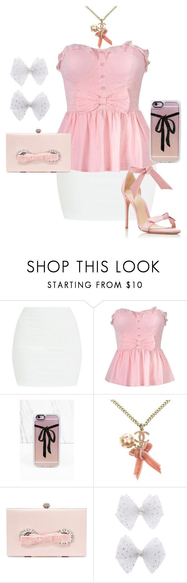 """""""Pink bows"""" by thecyberbat on Polyvore featuring mode, Casetify, Chanel, Badgley Mischka, Monsoon, Alexandre Birman, Pink, bow en dress"""