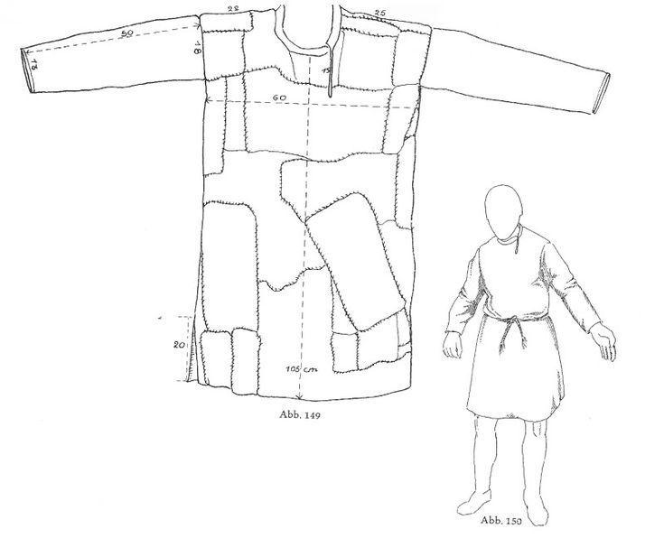 Bernuthsfeld skjorte, forsiden. Dateret 680–775 CE. Fundet i gamle DK, idag Tyskland. Ekstremt slidt og bestod mest af lapper!