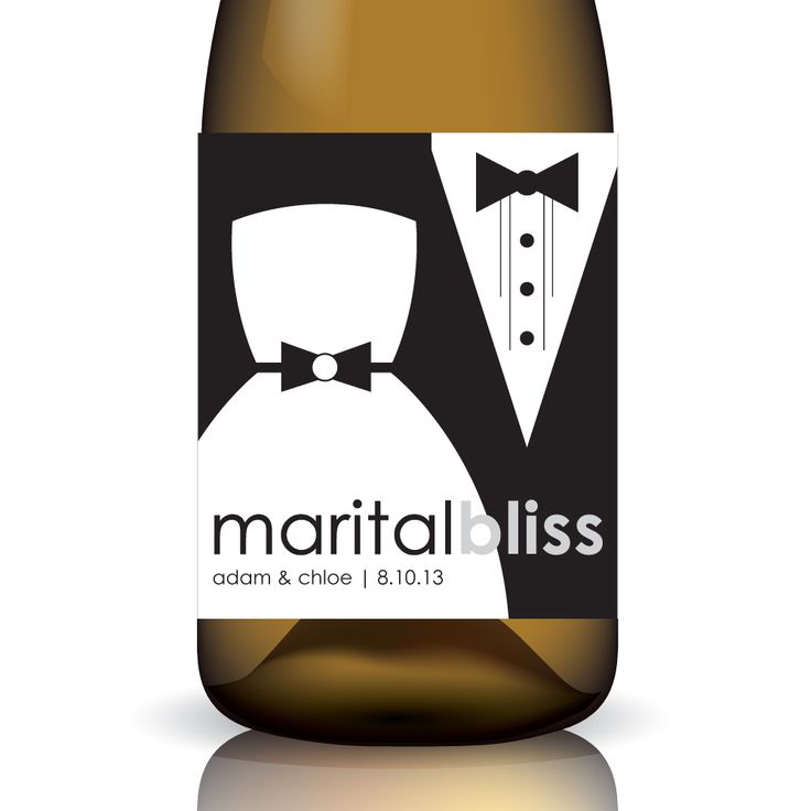 """Marital Bliss ... """"Custom"""" Wedding Wine Label Wrap by Gifted Labels"""
