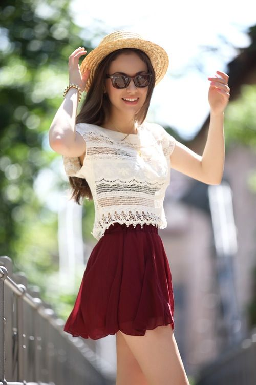 Skater skirt and lace top