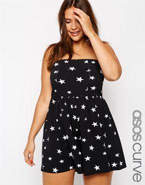 ASOS CURVE Plus Size Bandeau Romper In Star Print Plus Size Playsuit #UNIQUE_WOMENS_FASHION