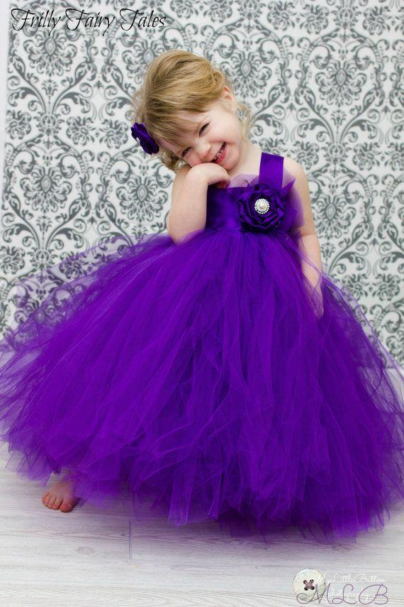 Royal Purple Purple Flower Girl Dress Tutu by FrillyFairyTales
