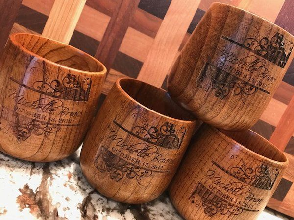 Custom Engraved Personalized Natural Wood Quality Cup Handmade Drinkware 4oz