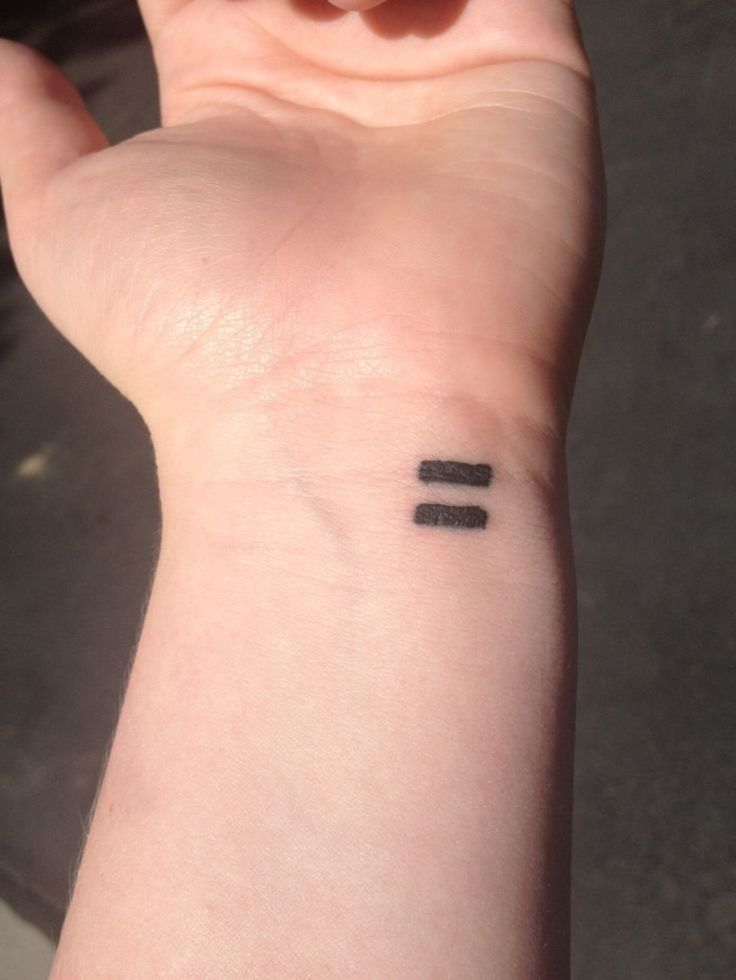 Equals sign tattoo. I actually like this...and I don't like tattoos. Except I wish it blended pink and blue to show we are all equal.