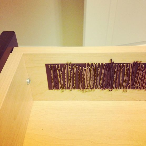 Magnetic strip to hold bobby pins inside a bathroom drawer. LOVE this!! No more digging in the bottom of the drawer!