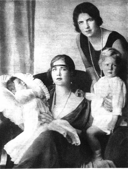 Toddler Prince Michael and his mother Helen, right, with his paternal aunt, Queen Marie of Yugoslavia (nee Princess of Romania) and her son, Crown Prince Peter. Both boys would be the last kings of their countries.