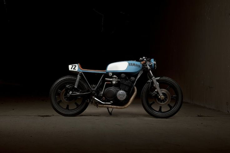 The blue colour, the wheels, the handlebars, the line in the tank... exquisite.    Yamaha XS750 Cafe Racer by Ugly Motorbikes