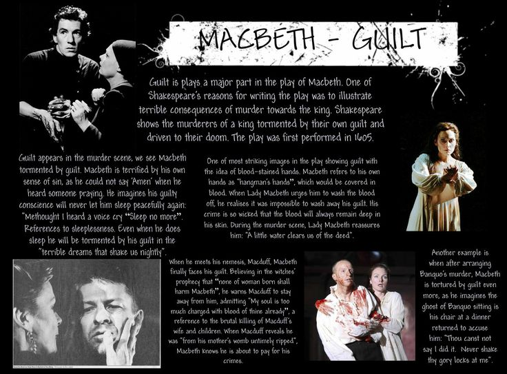 the theme of guilt in macbeth by william shakespeare The play macbeth revolves around the theme of guilt when macbeth murders   shakespeare's macbeth is a 400 year old play centered around murder and guilt.