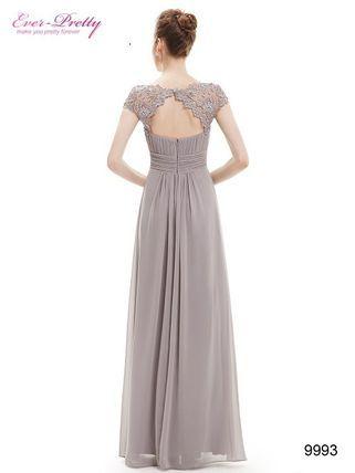 Ever-Pretty ドレス-ロング グレーレース袖付きロングドレス☆半袖ロングドレス、発表会(3)