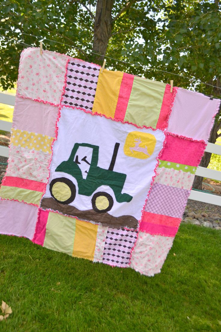 Girl Rag Quilt, Large Pink and Green Tractor, Toddler