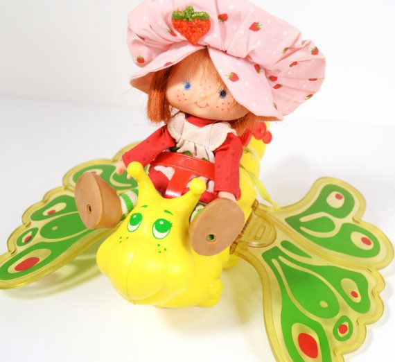 Flitterbit Butterfly Strawberry Shortcake Ride-on Toy American Greetings 1980's Green Yellow Red Flapping Wings #vintage #toy #girl $20