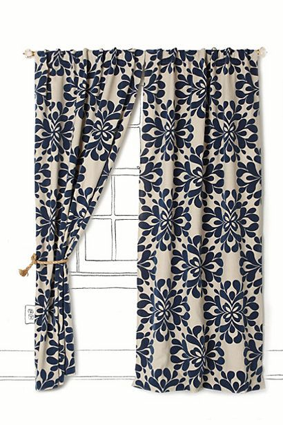 Coqo floral curtain anthropologie love both navy and mus Navy blue curtains