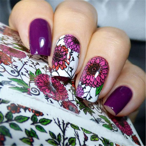 2 pattern sheet flower nail art water decals transfer stickers 7 types of flower clear nail polishclear