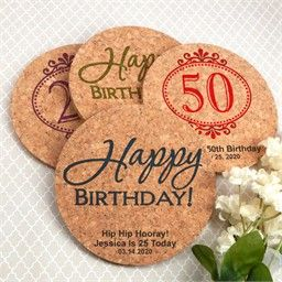 Personalized 50th Birthday Party Favors - Cork Coasters