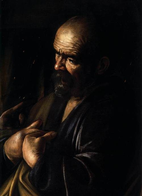 CARAVAGGIO  The Denial of St Peter (detail)  c. 1610 Oil on canvas Metropolitan Museum of Art, New York.