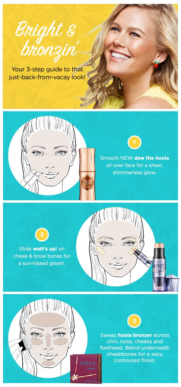 Get the post vacation glow in just 3 steps!  Add our new do the hoola liquid bronzer to your routine for an extra boost of believable bronze~