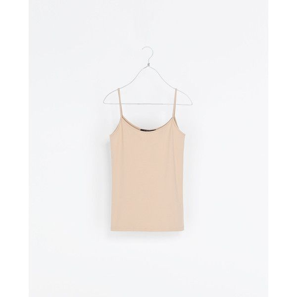 Zara Strappy Top (£7.78) ❤ liked on Polyvore featuring beige