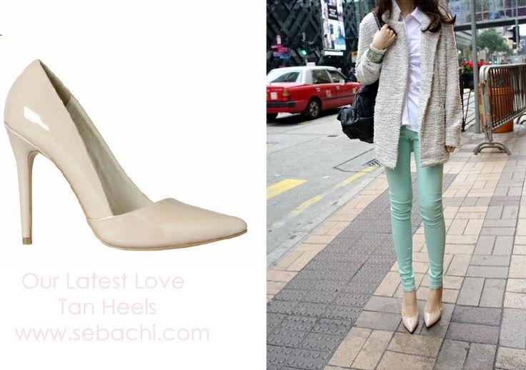 We Love Tan Heels at Sebachi!! http://www.sebachi.com/collections/footwear/products/womens-footwear-lipstik-fresco-rose-patent-heels