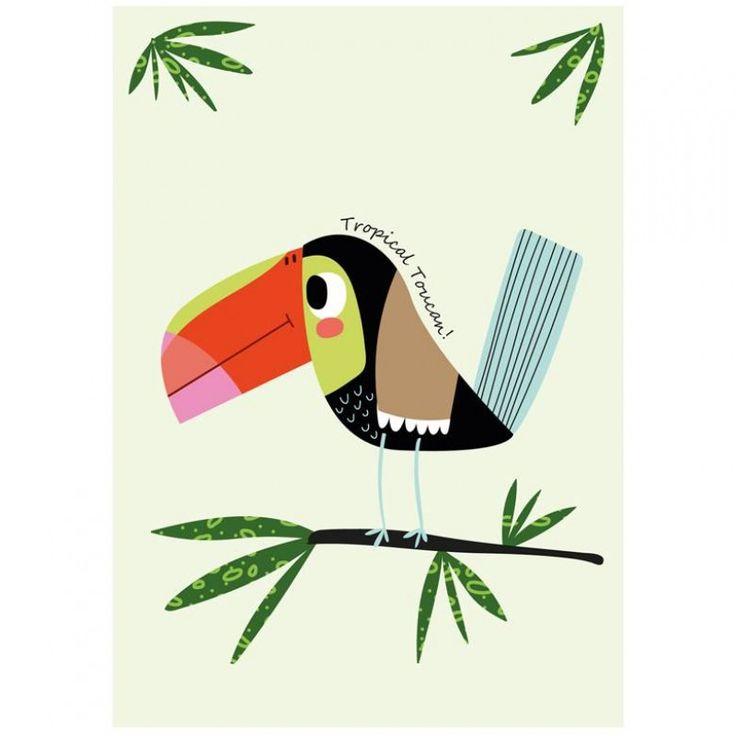 sparkling-paper-poster-tropical-#toucan kinderkamer kidsroom decoratie   Bon Bon Bleu