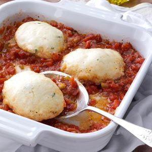 Tomato Dumplings Recipe- Recipes  The wonderful fresh tomato taste of the sauce complements these light savory dumplings. They make a perfect side dish for a meal with beef. My family enjoys them very much. —Lucille Tucker, Clinton, Illinois