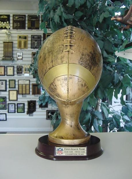 LARGE LIFE SIZE RESIN FANTASY FOOTBALL TROPHY AWARD WITH COLOR LOGO FREE ENGRAVE #Unbranded