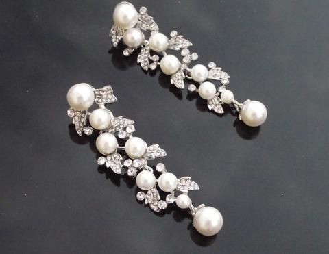 Wedding Earrings - Vintage Style Silver Earrings, Pearl Drop Earrings, Hayworth