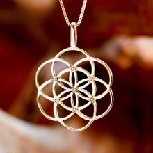 Seed of Life Pendant - Gold with Diamonds The Symbol of Creation and Fertility. Jewel's Intention: Foster new ideas, and find protection during pregnancy. A symbol of blessing, fertility and protection Seed of life is worn as a symbol of protection for pregnant women. It helps to create new ideas and to open new pathways in life. The seed of life is a symbol for the days of creation. Click on the image to order. Solid Gold 14k Yellow Size:	2.5cm/2.5cm - 1Inch/1Inch Price:	$391