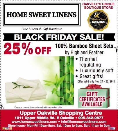 Black Friday sale at #HomeSweetLinen #Oakville #ShopLocal