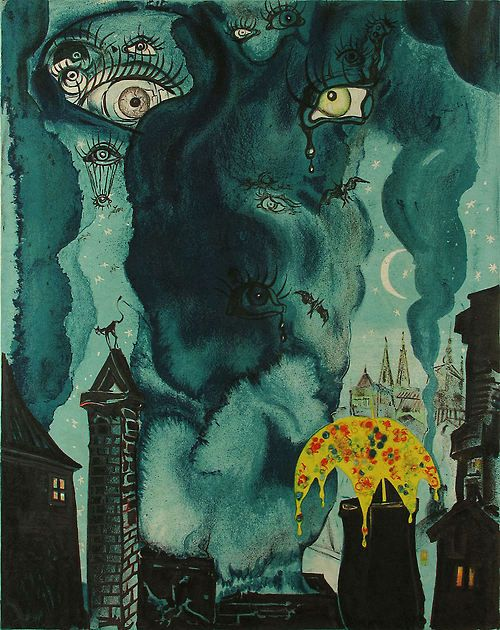 The Sandman - Salvador Dali - illustrations for Hans Christian Anderson's Fairy Tales - color lithography after original gouache
