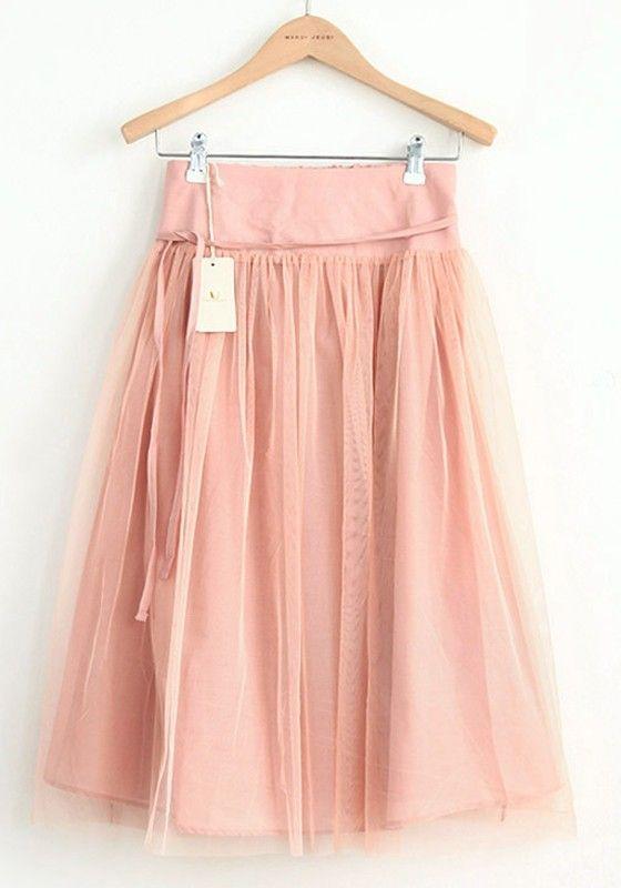 Nude Elastic Waist Belt Below Knee Cotton Skirt