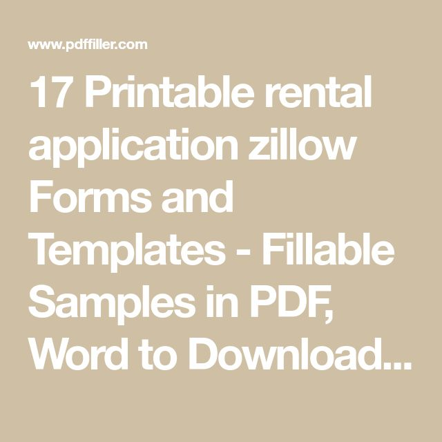 17 Printable rental application zillow Forms and Templates