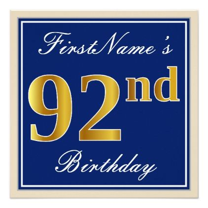 Elegant Blue Faux Gold 92nd Birthday  Name Card - script gifts template templates diy customize personalize special