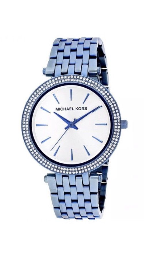 New In Box Michael Kors Darci Silver Dial Ladies Ocean Blue Watch MK3675  $250  | eBay