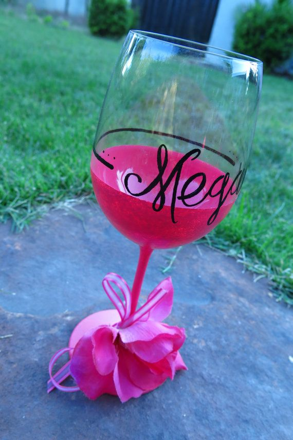 Custom personalized hand painted wine glass by JsHandmadeWithLove, $19.00