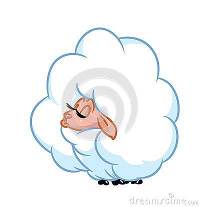 Beautiful sheep fluffy   cartoon illustration  isolated image