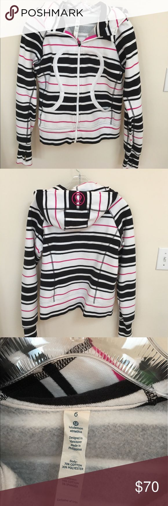Rare Lululemon Scuba Hoodie Like new condition. Lululemon scuba hoodie. White pink and black. Worn only a few times. Size 6 lululemon athletica Jackets & Coats