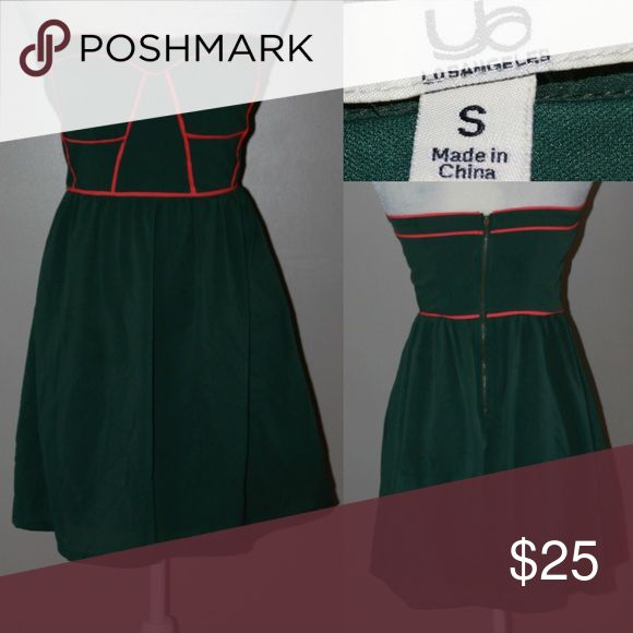 YA! Strapless army green retro pin up look dress Reminds me of that old boogie Woogie bugle boy song lol very sexy little Strapless pinup look dress Army green with pretty orange trim Ya Los Angeles Dresses Strapless