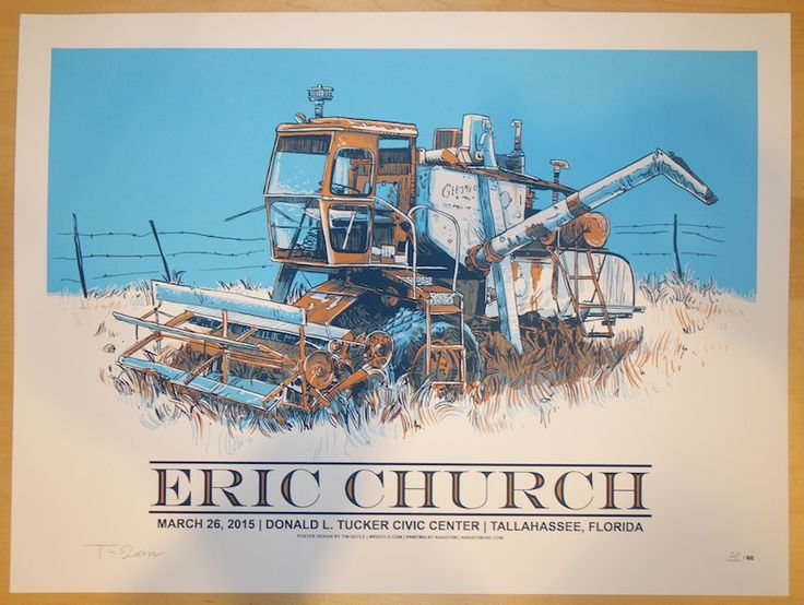"""Eric Church - silkscreen concert poster (click image for more detail) Artist: Tim Doyle Venue: Donald L. Tucker Civic Center Location: Tallahassee, FL Concert Date: 3/26/2015 Size: 24"""" x 18"""" Edition:"""