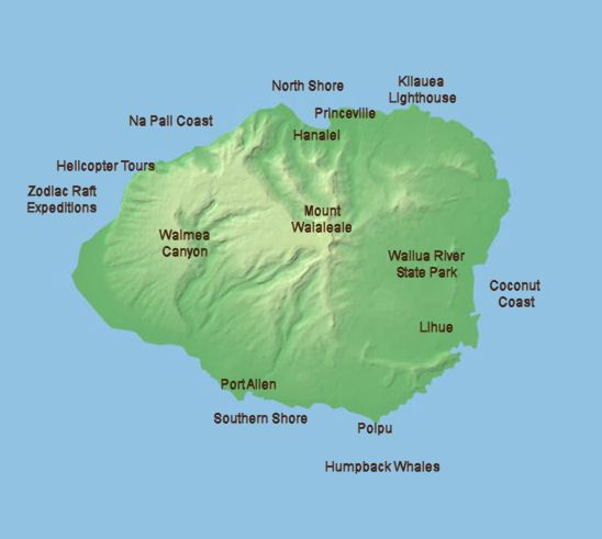 Clickable Map of Kauai, Hawaii - Map of Kauai