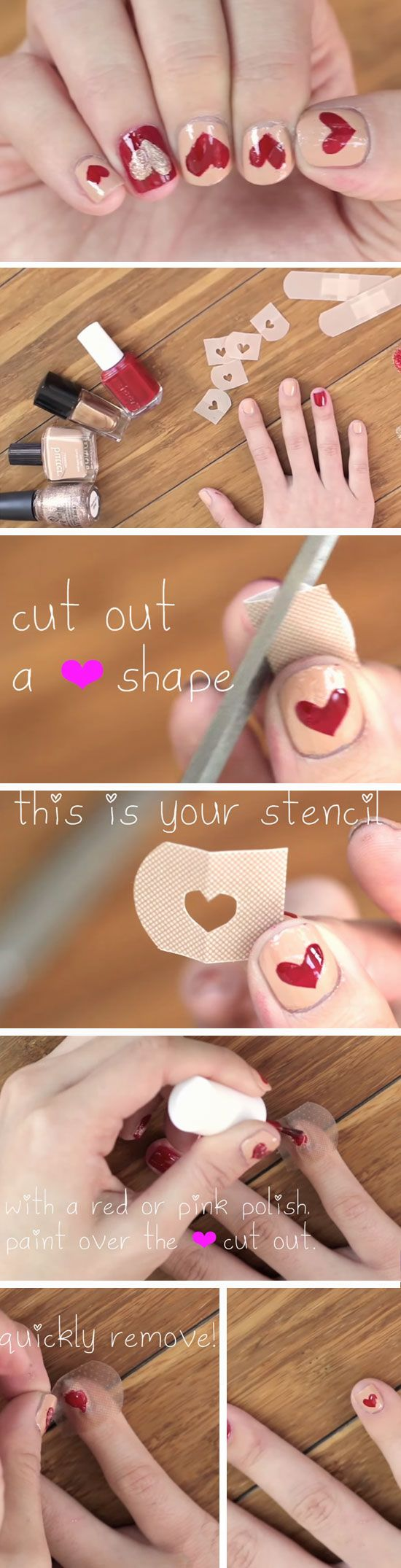 Bandaid Hearts | 15 Easy Valentines Day Nail Designs for Short Nails | DIY Nail Art Ideas for Spring