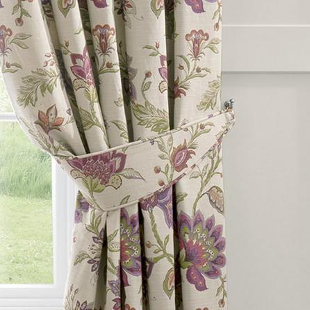 Dorma Plum Bloomsbury Lined Pencil Pleat Curtains Living