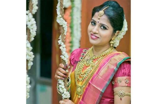 South Indian poof hairstyle and saree