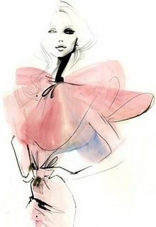 pretty & feminine fashion sketch by Grant Cowan