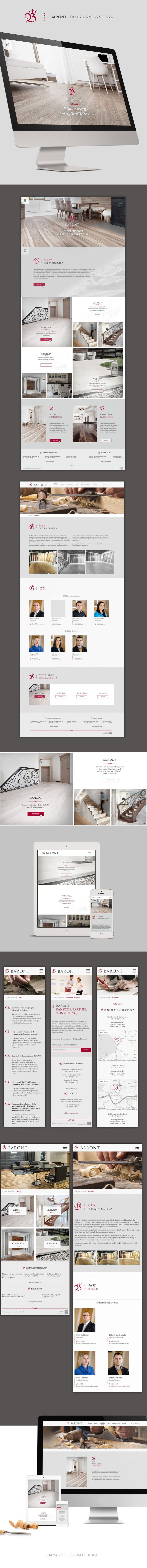 Baront is website for company with exclusive floors, floors, stairs, doors.